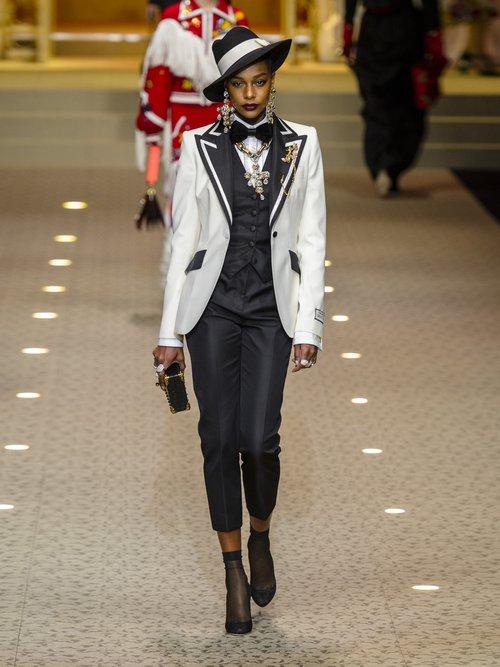 Contrast Lapel Single Breasted Wool Blend Blazer by Dolce & Gabbana