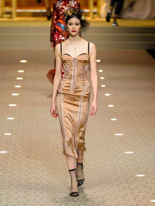 Laced Stretch Silk Satin Dress by Dolce & Gabbana