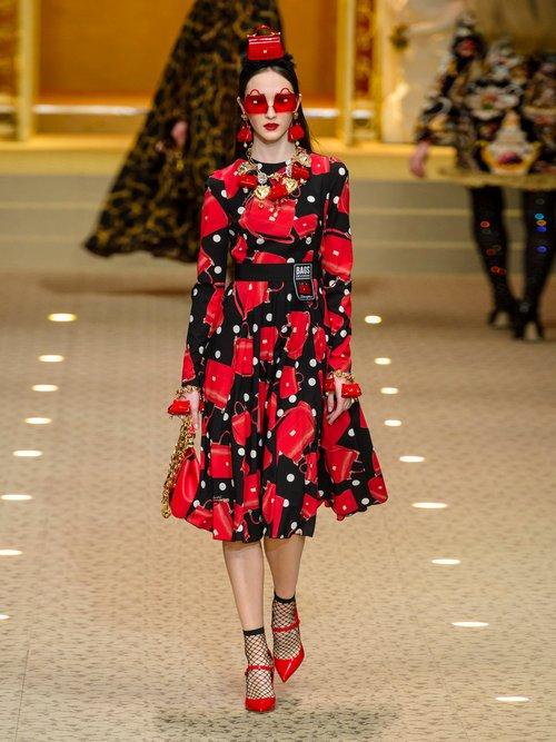 Sicily Print Silk Blend Charmeuse Dress by Dolce & Gabbana