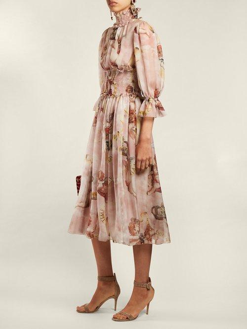 Cherub Print Silk Dress by Dolce & Gabbana