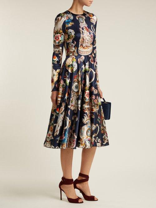 Porcelain Angels Print Satin Dress by Dolce & Gabbana