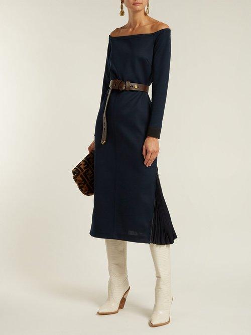 Off The Shoulder Midi Dress by Fendi