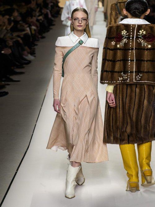 Detachable Collar Pleated Silk Midi Dress by Fendi