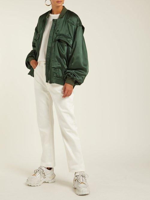 Oversized Silk Satin Bomber Jacket by Katharine Hamnett London