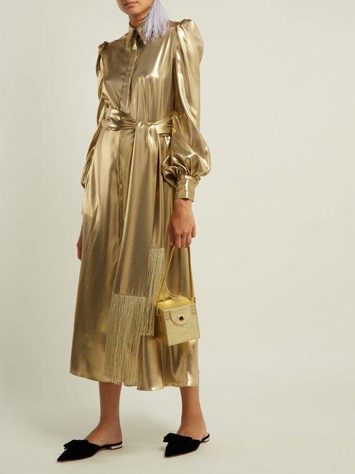 Belted Metallic Silk Satin Dress by Hillier Bartley