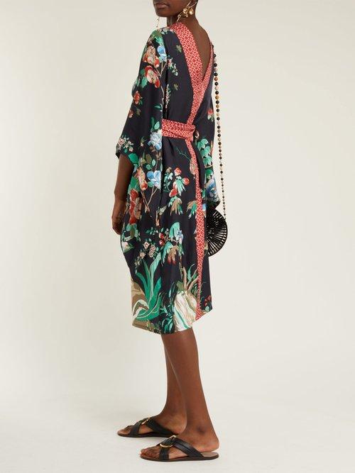 Kimono-sleeve belted silk midi dress by D'Ascoli