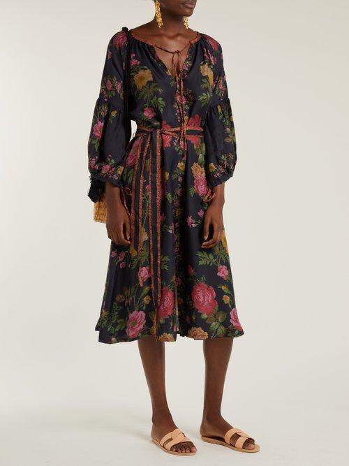Shop D'Ascoli Russia floral-print balloon-sleeve silk dress online sale