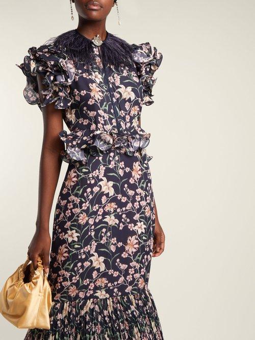 Dark Florals ruffle-trimmed gown by Johanna Ortiz