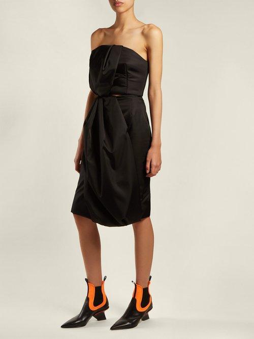 Leather Neoprene Insert Point Toe Chelsea Boots by Prada