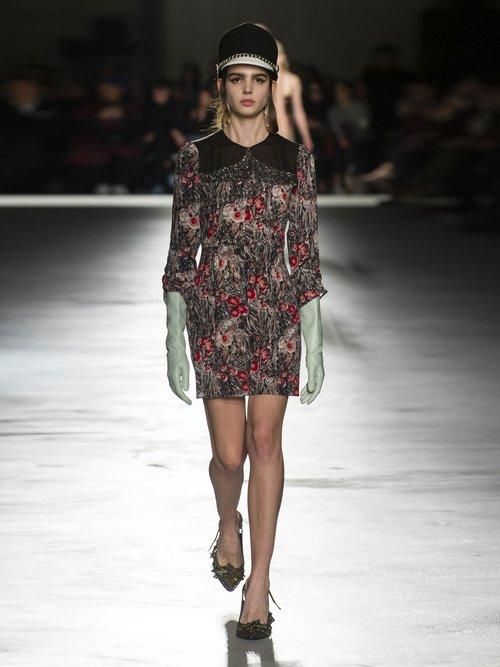Floral Print Embellished Silk Mini Dress by No. 21