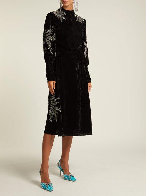 Bead Embroidered Velvet Midi Dress by Dodo Bar Or