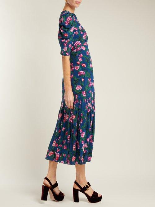 Colette Azalea Print Silk Crepe De Chine Dress by Saloni