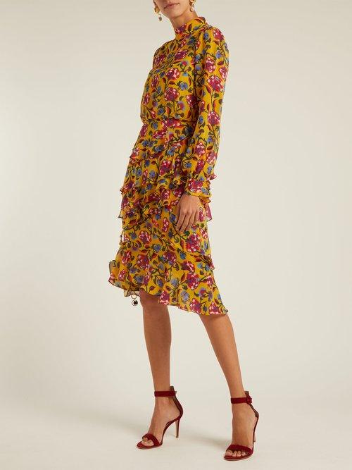 Isa floral-print silk dress by Saloni