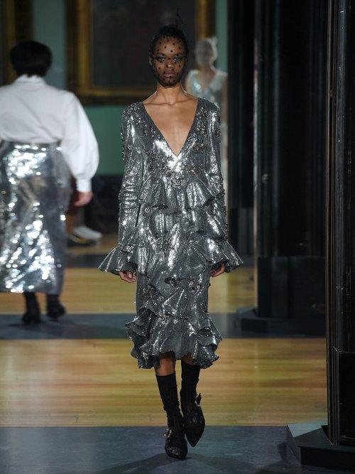 Desiree Ruffled Sequin Dress by Erdem