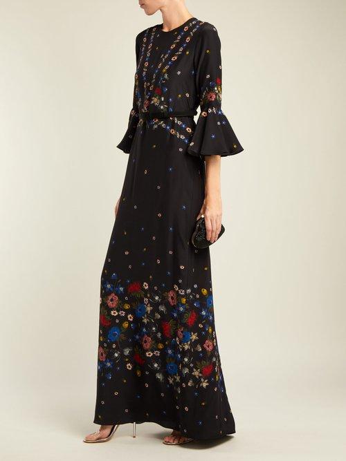 Linzea fluted-sleeve silk dress by Erdem