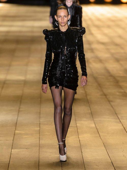 Puff Sleeve Sequinned Mini Dress by Saint Laurent