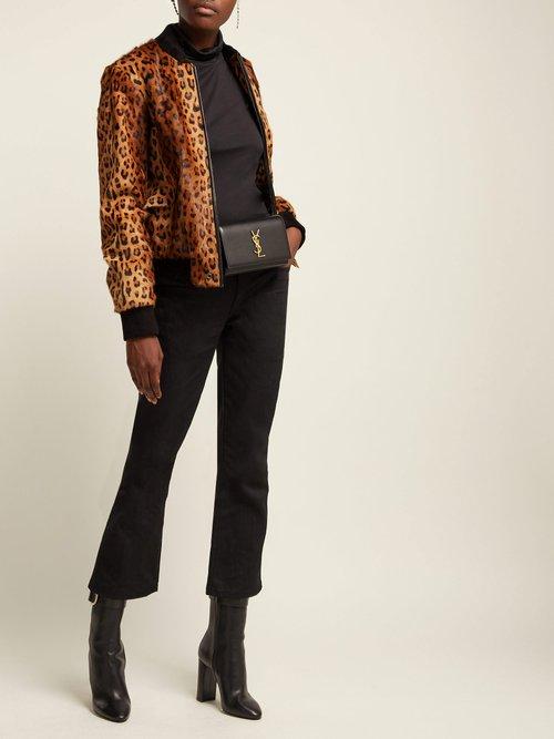Leopard Print Goat Hair Bomber Jacket by Saint Laurent