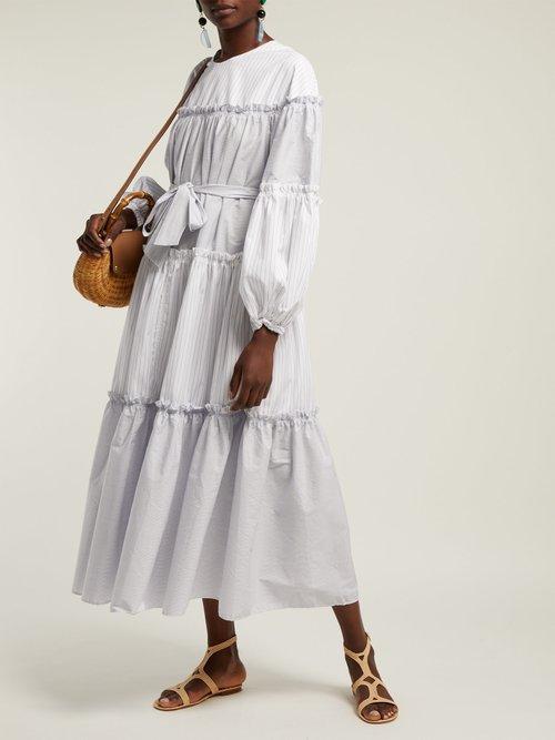 Penny Pinstriped Cotton Midi Dress by Lee Mathews