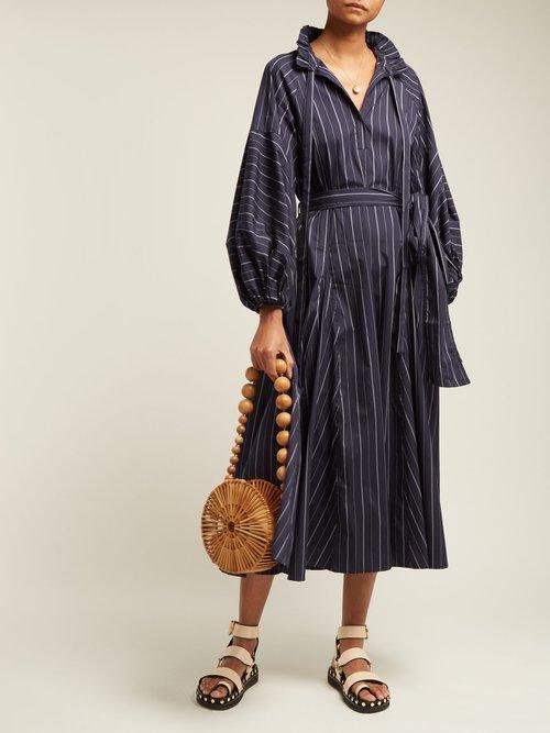Goldie Striped Tie Waist Cotton Dress by Lee Mathews