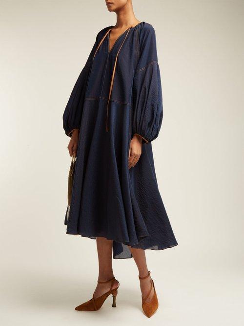 Daisy Tie Neck Midi Dress by Lee Mathews