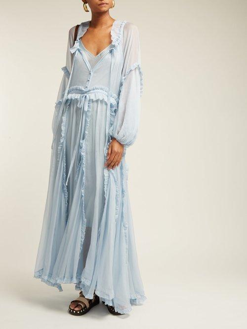 Bluebell Ruffled Silk Dress by Lee Mathews