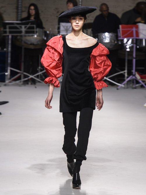 Drama Sleeve velvet mini dress by Isa Arfen