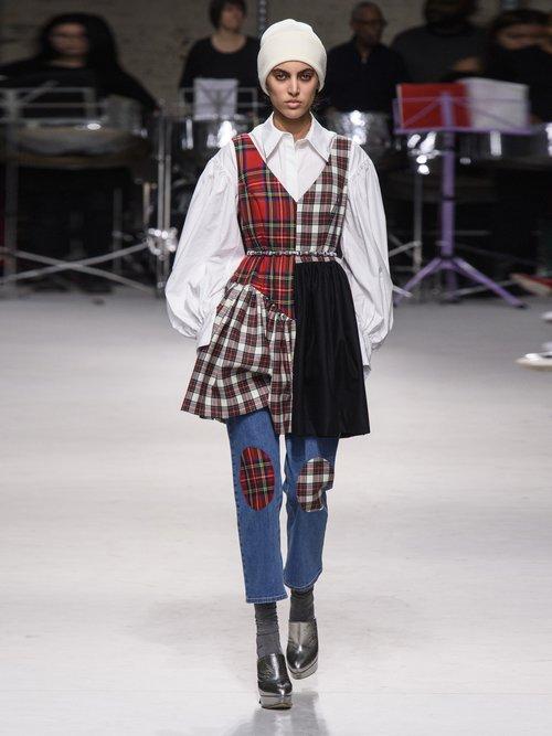Elsi Patchwork Tartan Wool Dress by Isa Arfen