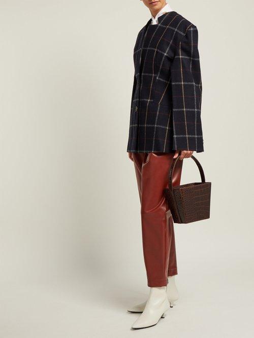 Checked Wool Blend Blazer by A.W.A.K.E.