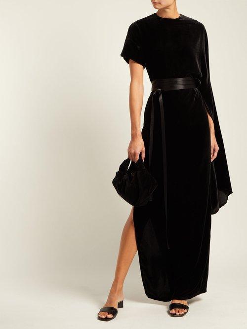 Asymmetric draped velvet maxi dress by A.W.A.K.E.