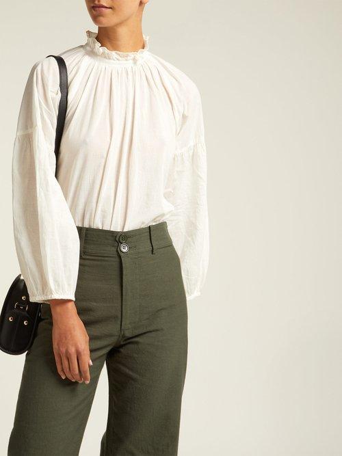 Victoria Ruffled Neck Cotton Blouse by Apiece Apart