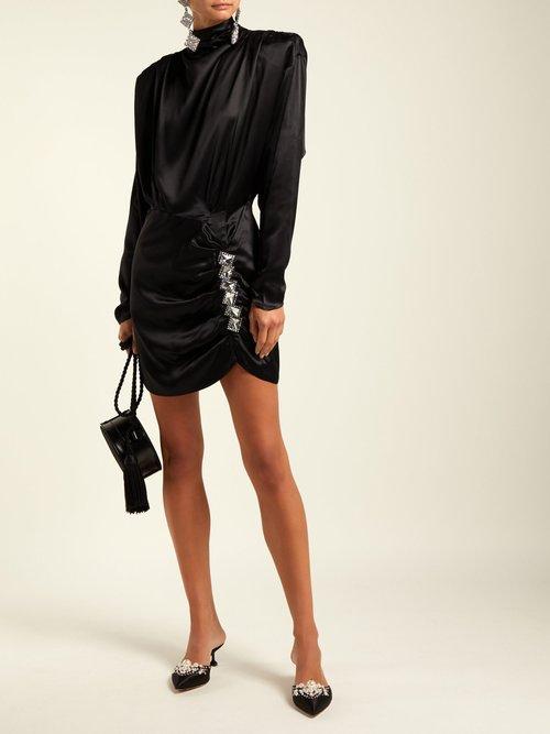 Crystal-embellished silk-satin mini dress by Alessandra Rich