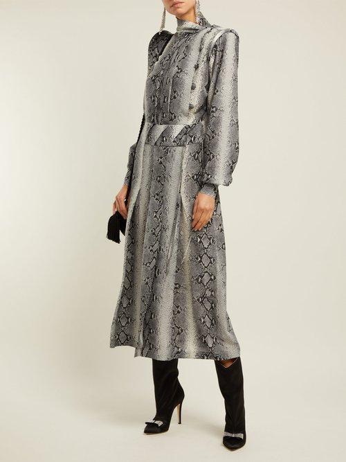 Python Print Pleated Silk Dress by Alessandra Rich