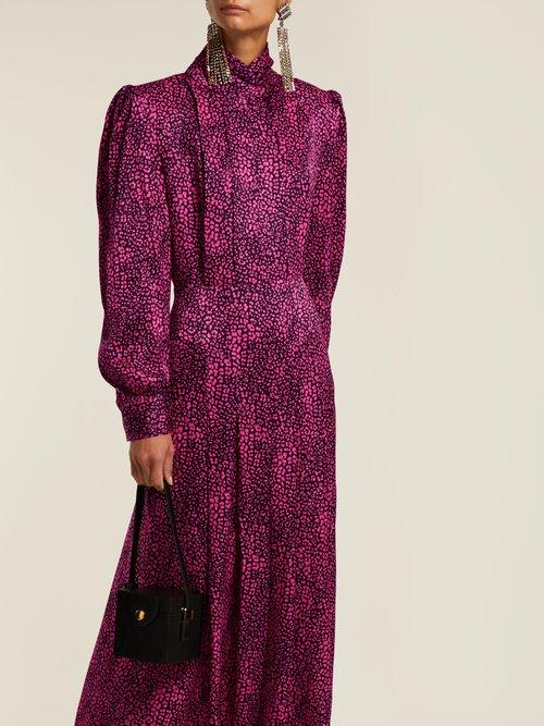 Leopard Print Silk Satin Dress by Alessandra Rich