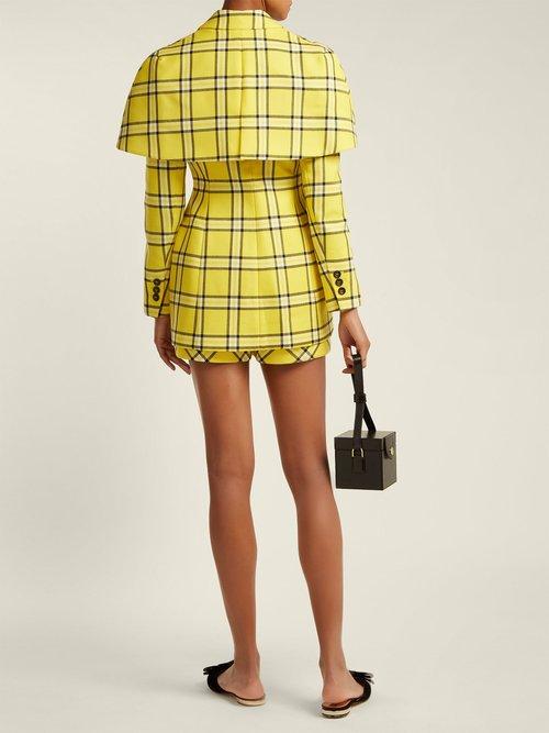 Single Breasted Cape Back Wool Blazer by Sara Battaglia