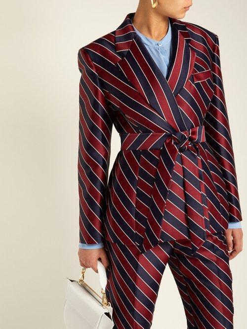 Striped Tie Waist Double Breasted Satin Blazer by Sara Battaglia