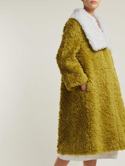 Contrast Collar Faux Fur Coat by Vika Gazinskaya