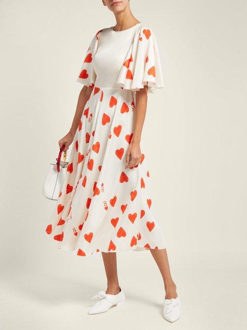 Heart Print Silk Blend Satin Twill Dress by Vika Gazinskaya