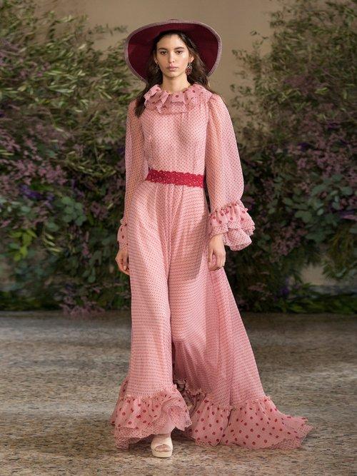 Polka Dot Print Silk Chiffon Gown by Luisa Beccaria