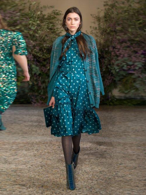 Polka Dot Silk Midi Dress by Luisa Beccaria