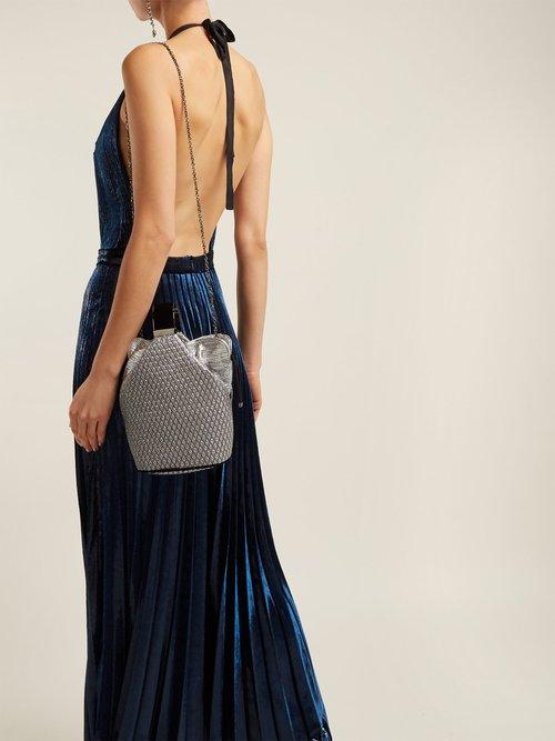 Giovanna Halterneck Pleated Velvet Gown by Raquel Diniz