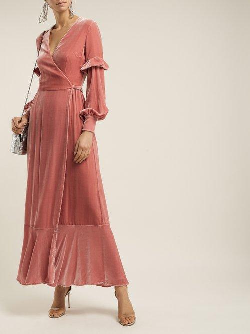 Aurora Silk Velvet Wrap Dress by Raquel Diniz