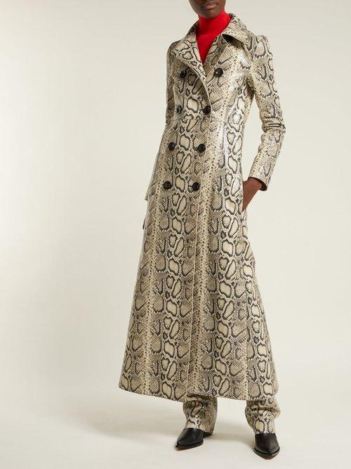 Photo of Python Print Leather Coat by Kwaidan Editions - shop Kwaidan Editions jackets and coats sales