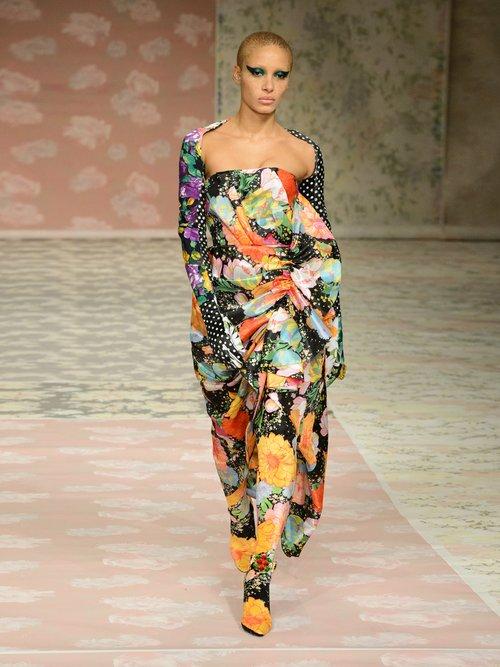Floral-print strapless satin dress by Richard Quinn