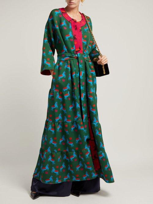 Mika Printed Long Coat by Rianna + Nina