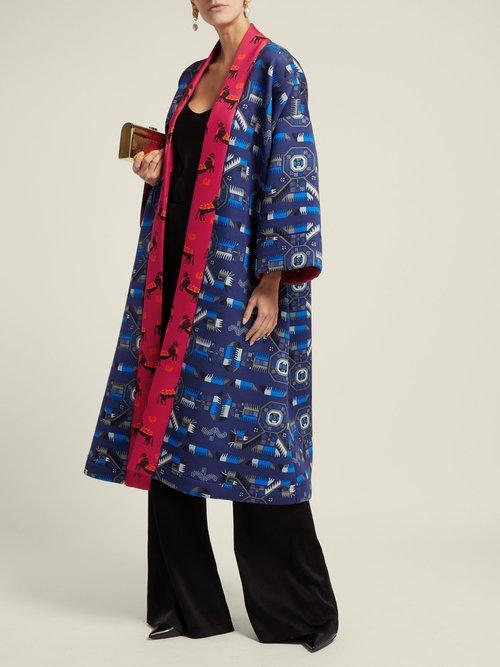 Greek Print Neoprene Kimono Jacket by Rianna + Nina