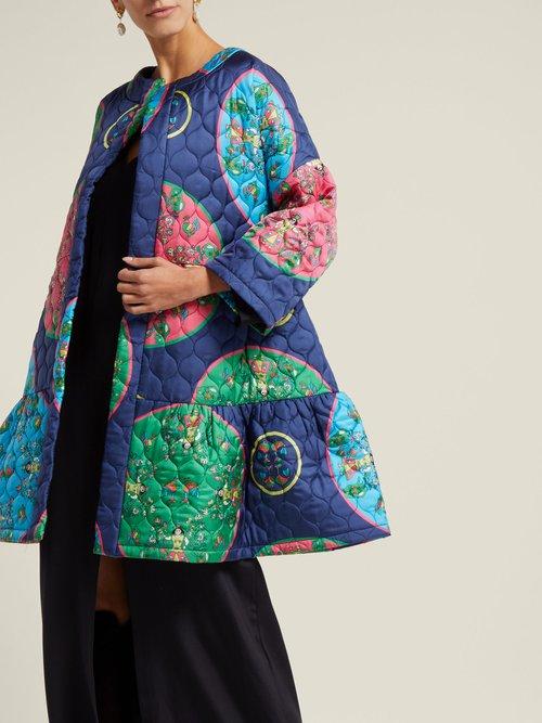 Anastasia Folk Print Quilted Silk Jacket by Rianna + Nina