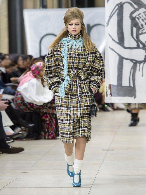 Oversized Wool Blend Tweed Coat by Miu Miu