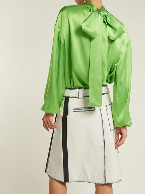 Photo of High Neck Tie Back Silk Blouse by Prada - shop Prada online sales