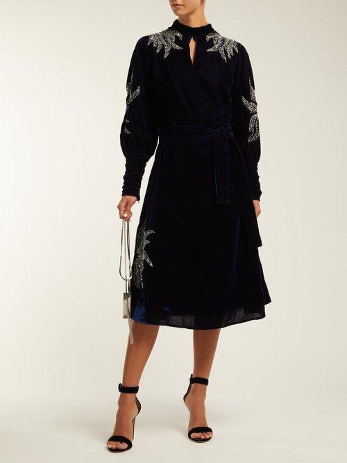 Josephine Embellished Velvet Midi Dress by Dodo Bar Or