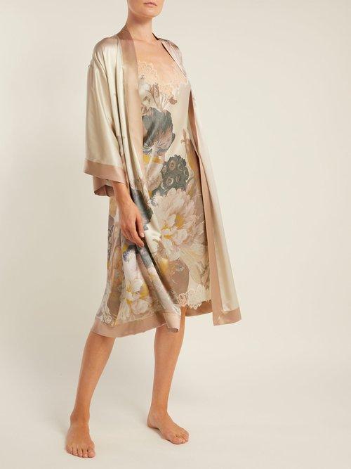 V Neck Silk Satin Slip Dress by Carine Gilson